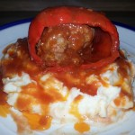 Stuffed Peppers over Better Than Mom's Mashed Potatoes