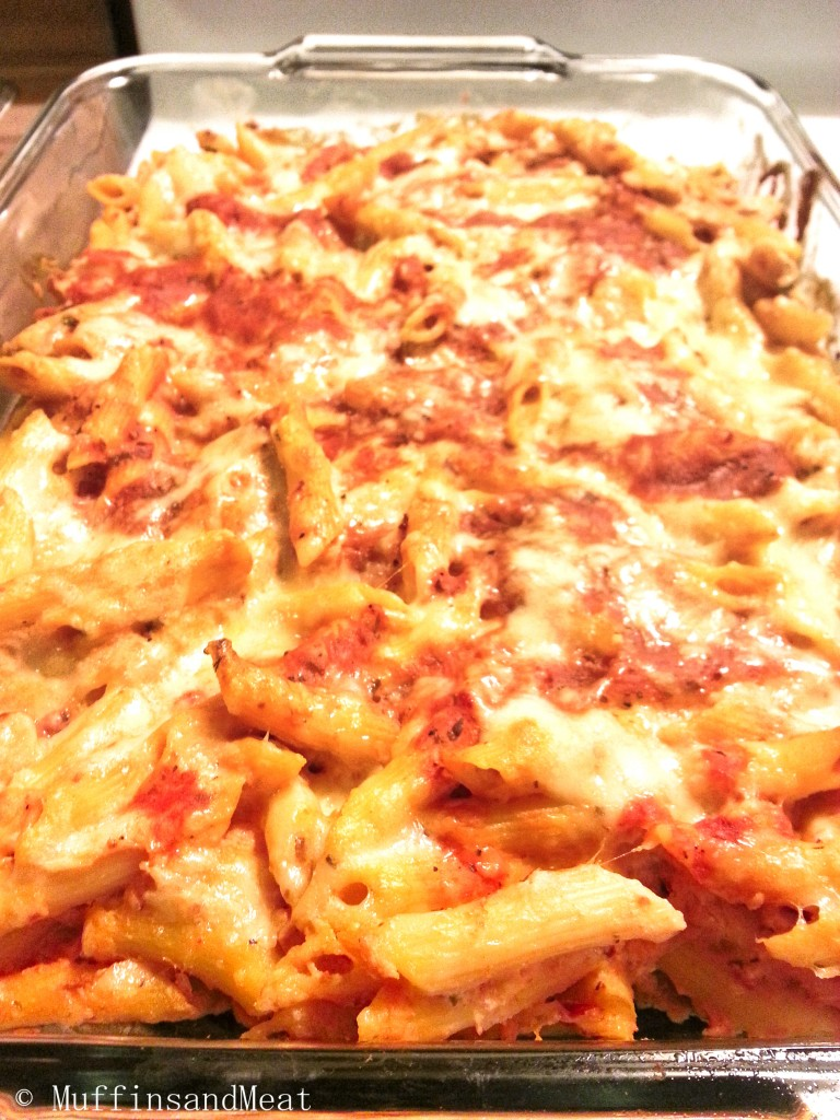 Homemade Baked Ziti with a homemade sauce.