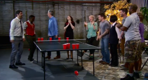"In the judges ""trailer park"" playing beer pong before the Good With Beer Challenge"
